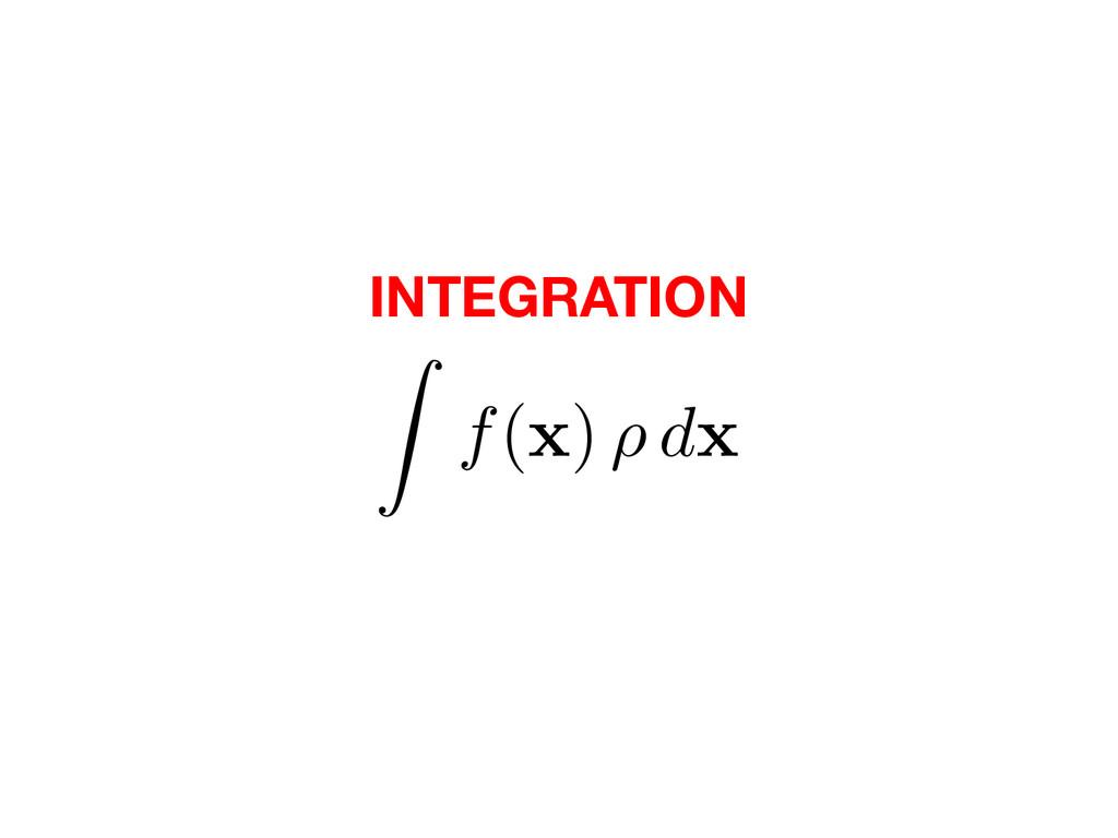 INTEGRATION Z f( x ) ⇢ d x
