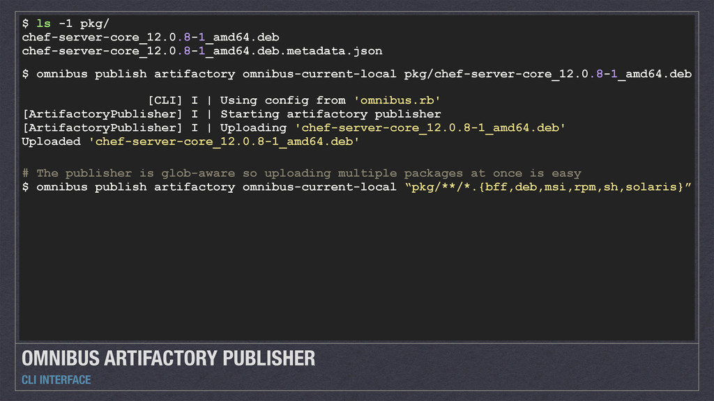 OMNIBUS ARTIFACTORY PUBLISHER CLI INTERFACE $ l...