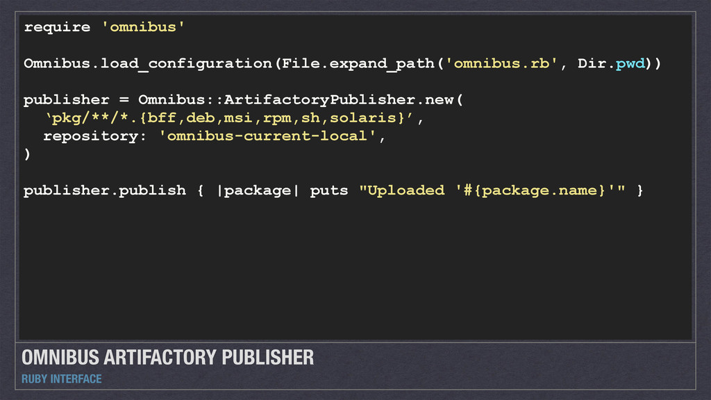 OMNIBUS ARTIFACTORY PUBLISHER RUBY INTERFACE re...