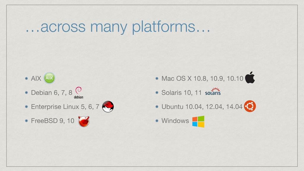 …across many platforms… AIX  Debian 6, 7, 8  En...