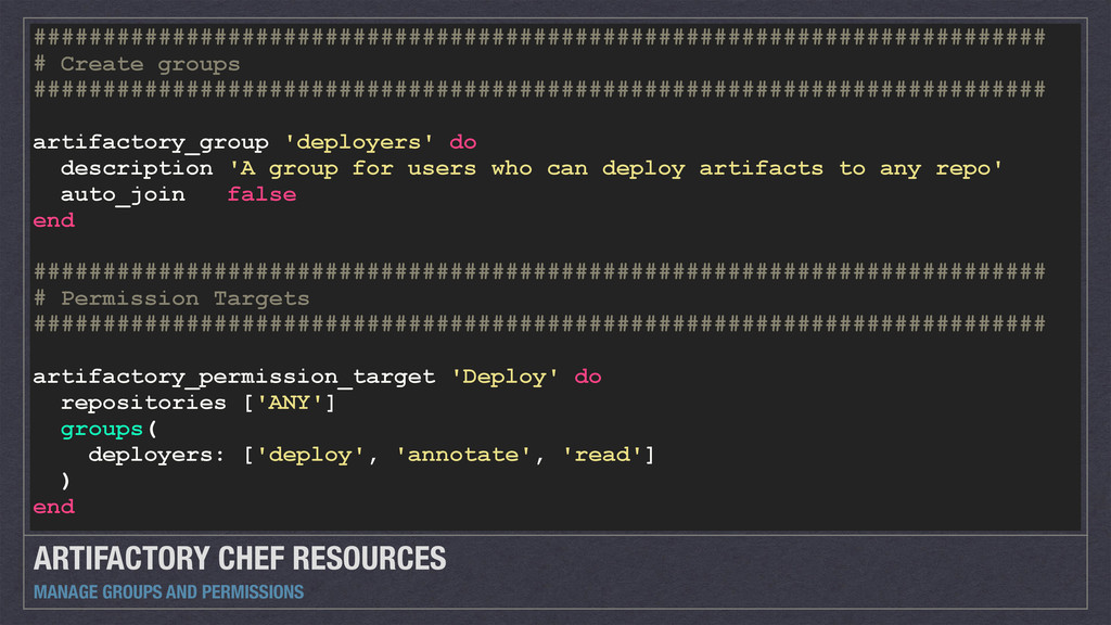 ARTIFACTORY CHEF RESOURCES MANAGE GROUPS AND PE...