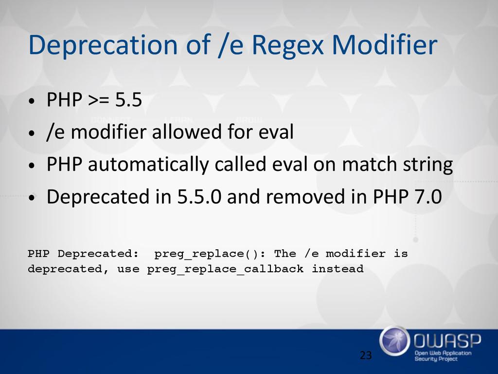 Deprecation of /e Regex Modifier • PHP >= ...
