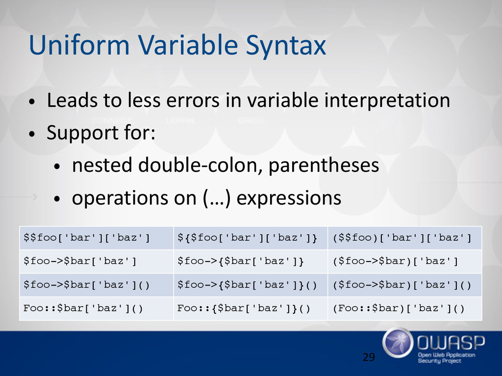 Uniform Variable Syntax • Leads to less er...