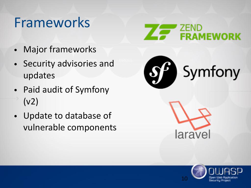 Frameworks • Major frameworks  • Security ad...