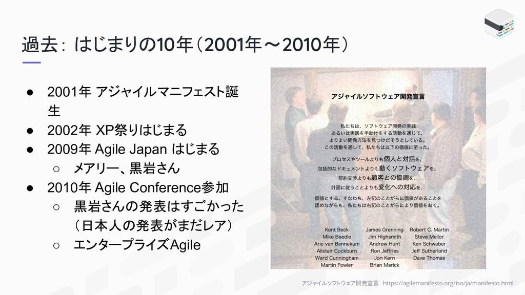 過去: はじまりの10年(2001年〜2010年) アジャイルソフトウェア開発宣言 https...