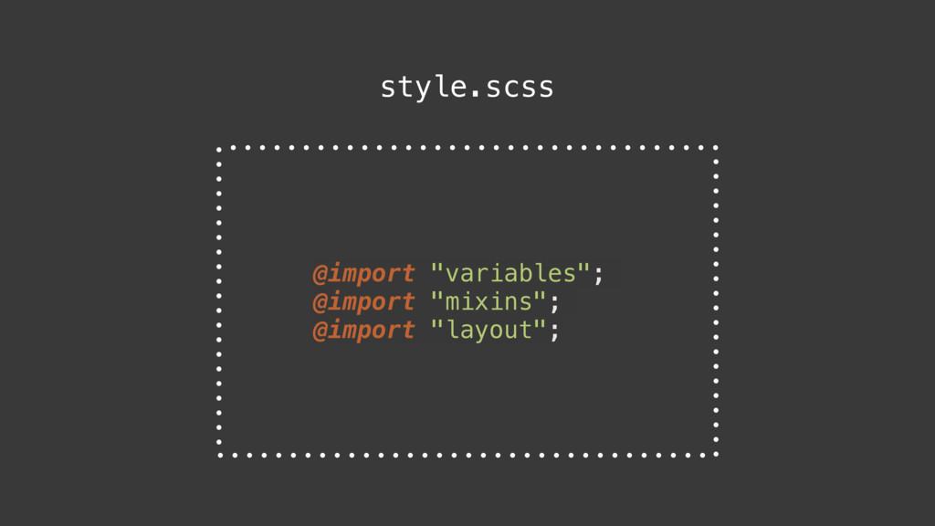 "@import ""variables""; @import ""mixins""; @import ..."