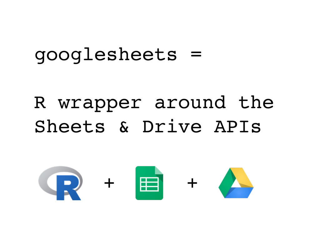+ googlesheets = R wrapper around the Sheets & ...