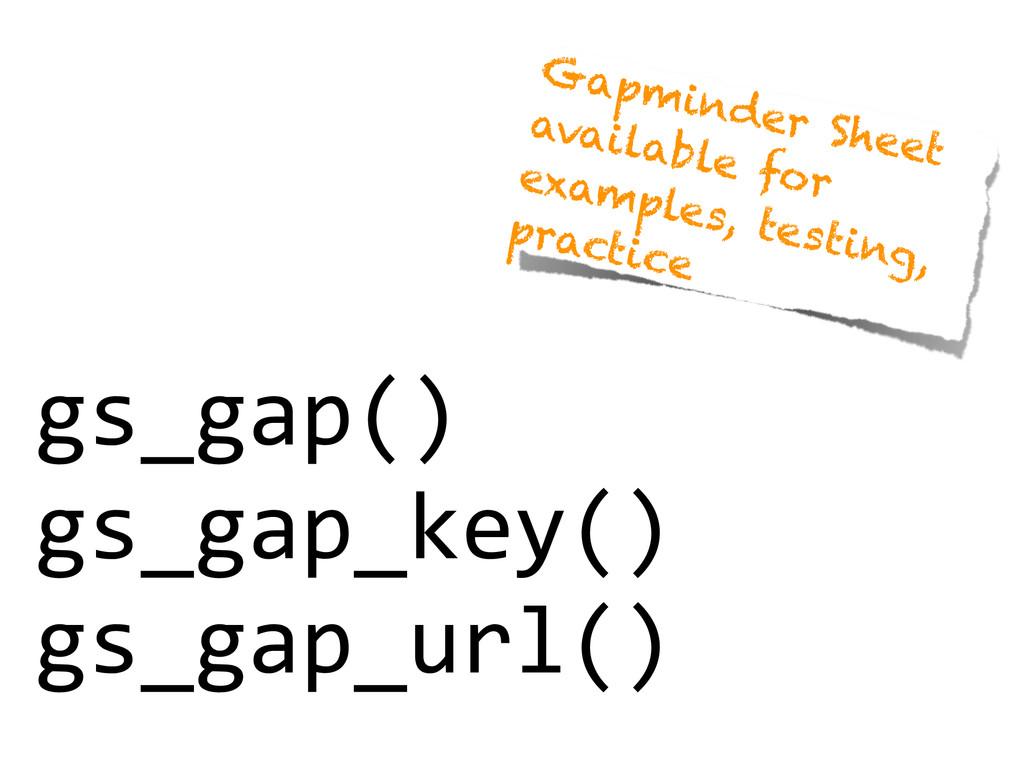 gs_gap()  gs_gap_key()  gs_gap_url() Gapm...