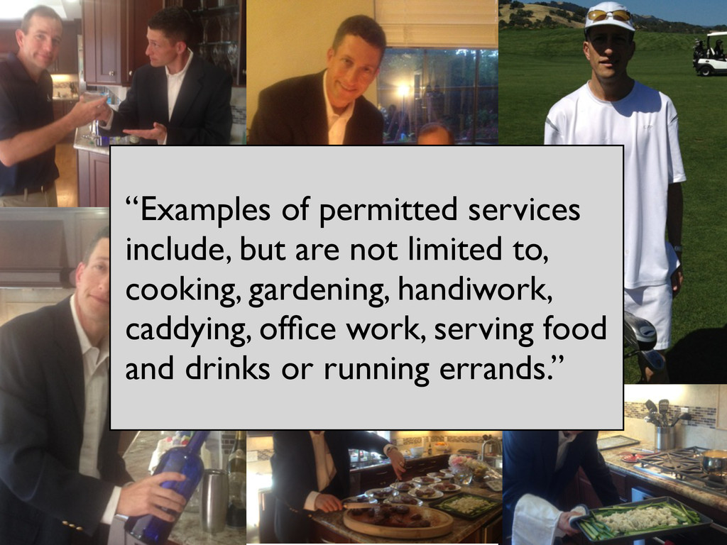 """Examples of permitted services include, but ar..."