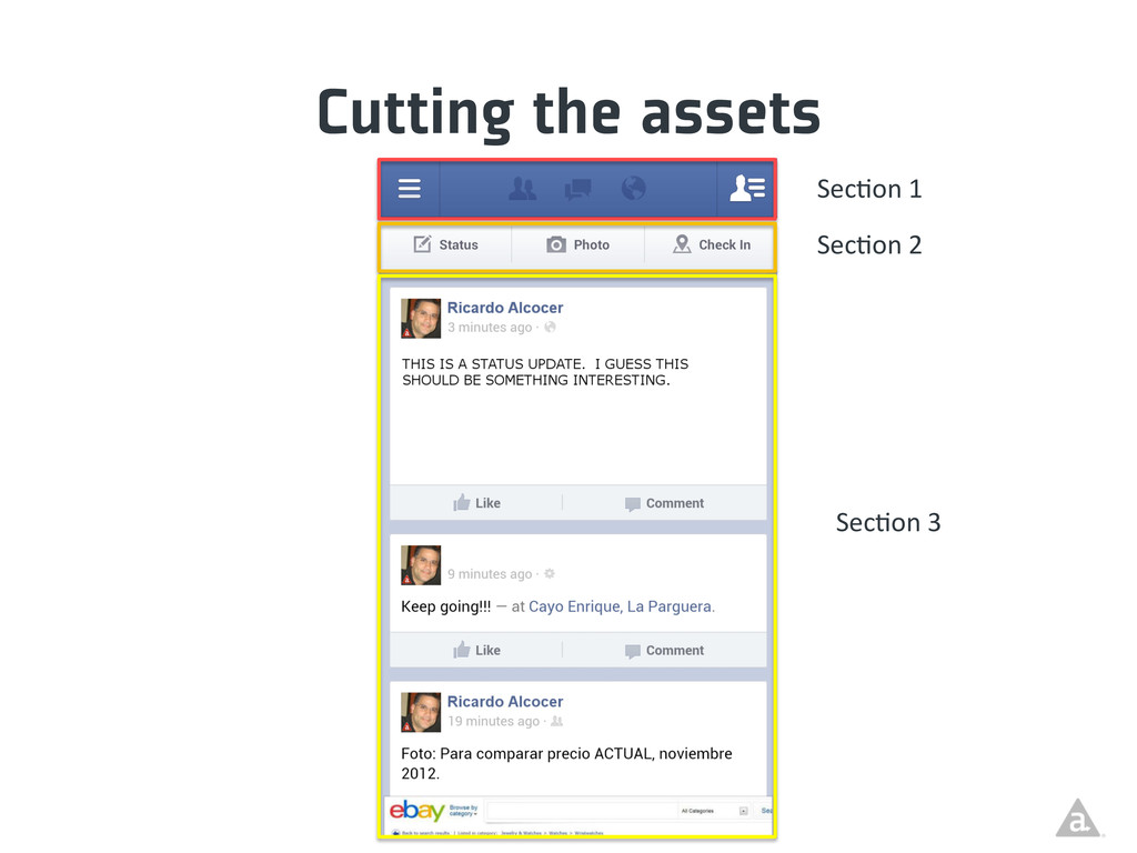 Cutting the assets Sec/on 1  Sec/on 2...