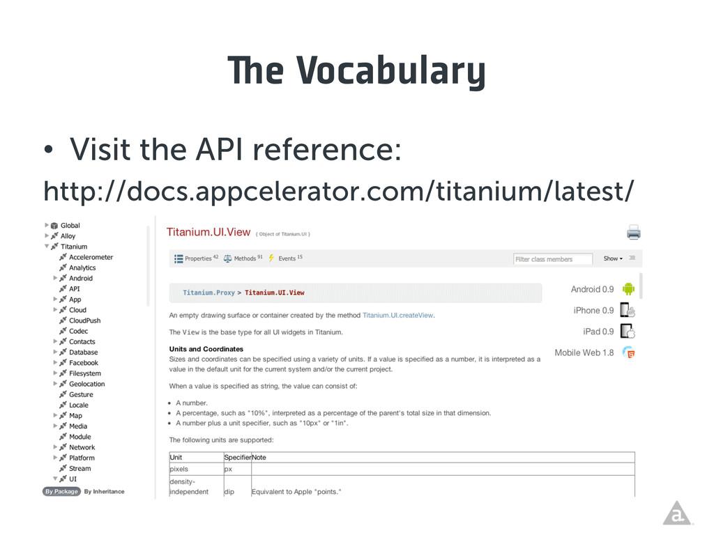 e Vocabulary • Visit the API reference: http:/...