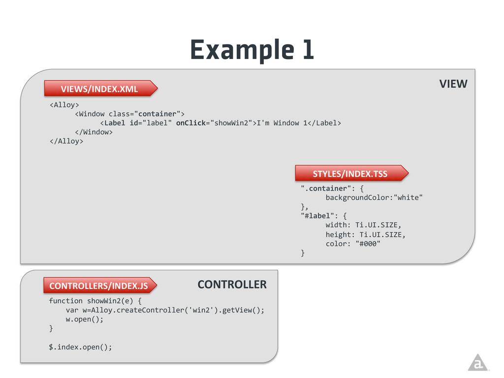 Example 1 VIEWS/INDEX.XML  CONTROLLERS/INDEX...
