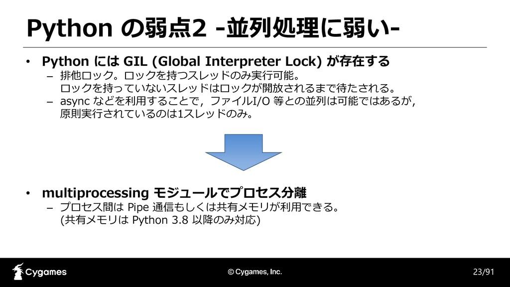 Python の弱点2 -並列処理に弱い- 23/91 • Python には GIL (Gl...