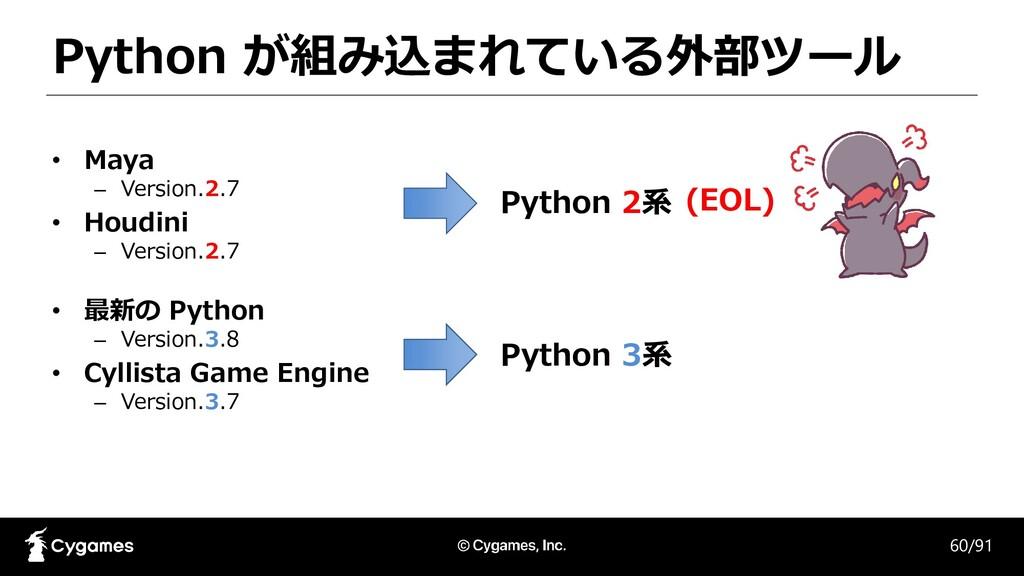 Python が組み込まれている外部ツール 60/91 • Maya – Version.2....