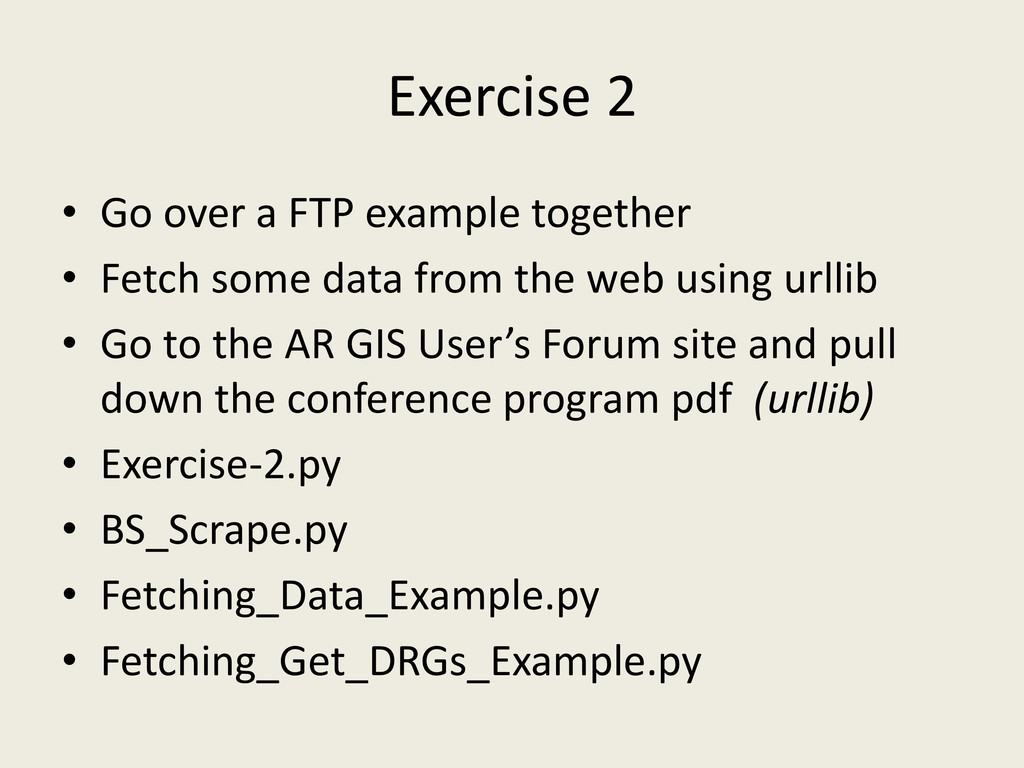 Exercise 2 • Go over a FTP example together • F...