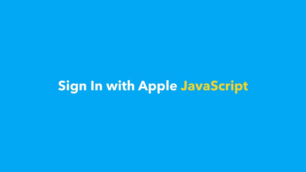Sign In with Apple JavaScript