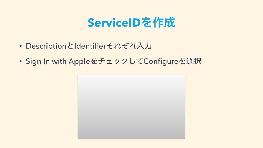 ServiceIDΛ࡞ • DescriptionͱIdentifierͦΕͧΕೖྗ • Si...