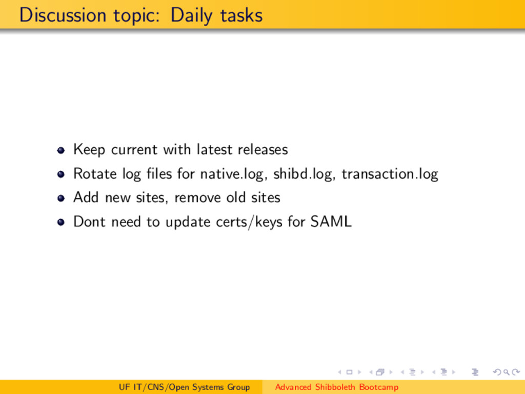 Discussion topic: Daily tasks Keep current with...