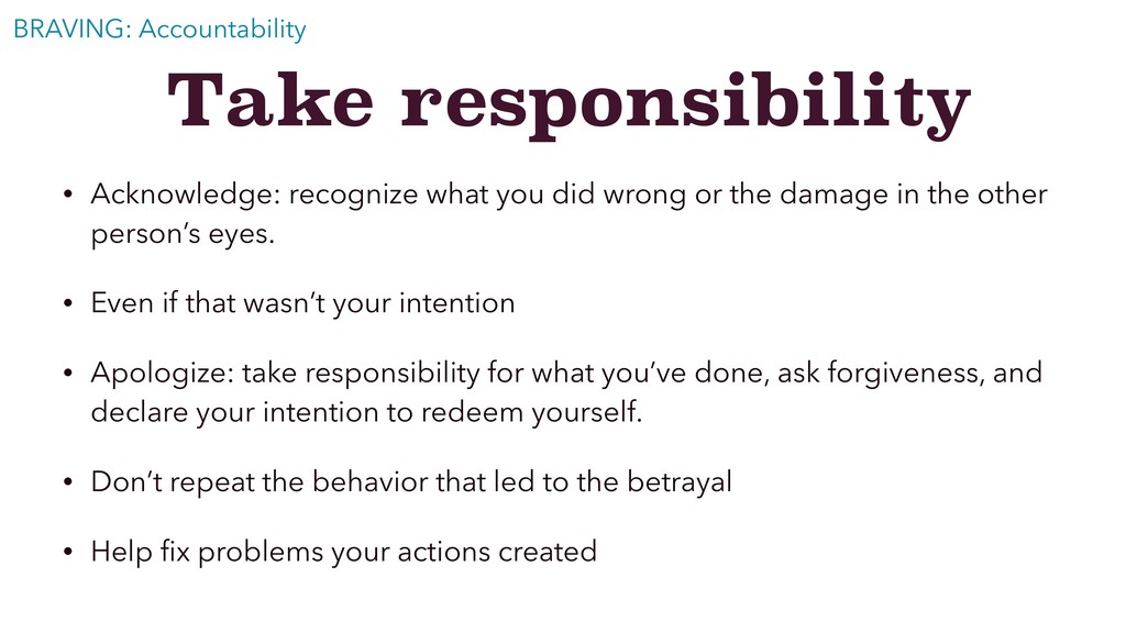 Take responsibility • Acknowledge: recognize wh...