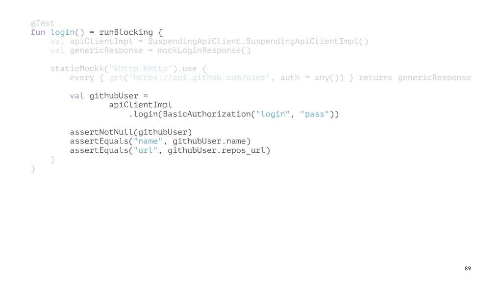 @Test fun login() = runBlocking { val apiClient...