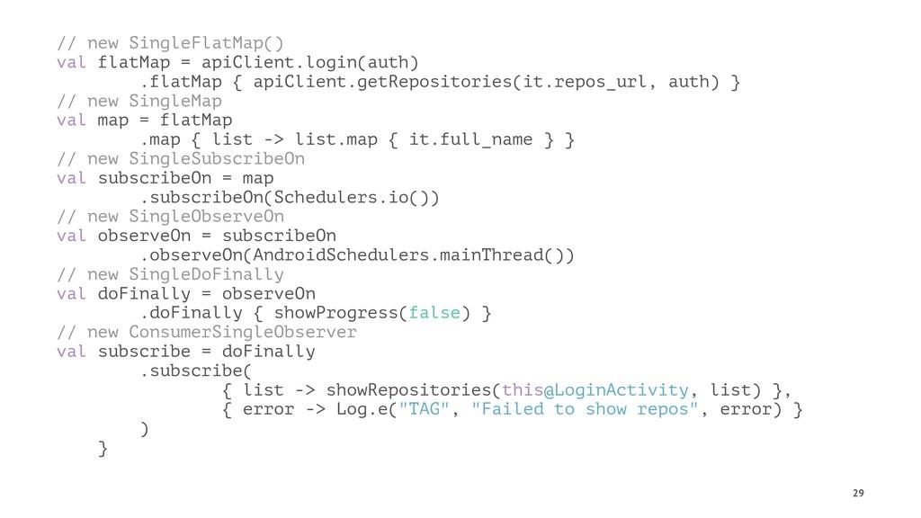 // new SingleFlatMap() val flatMap = apiClient....