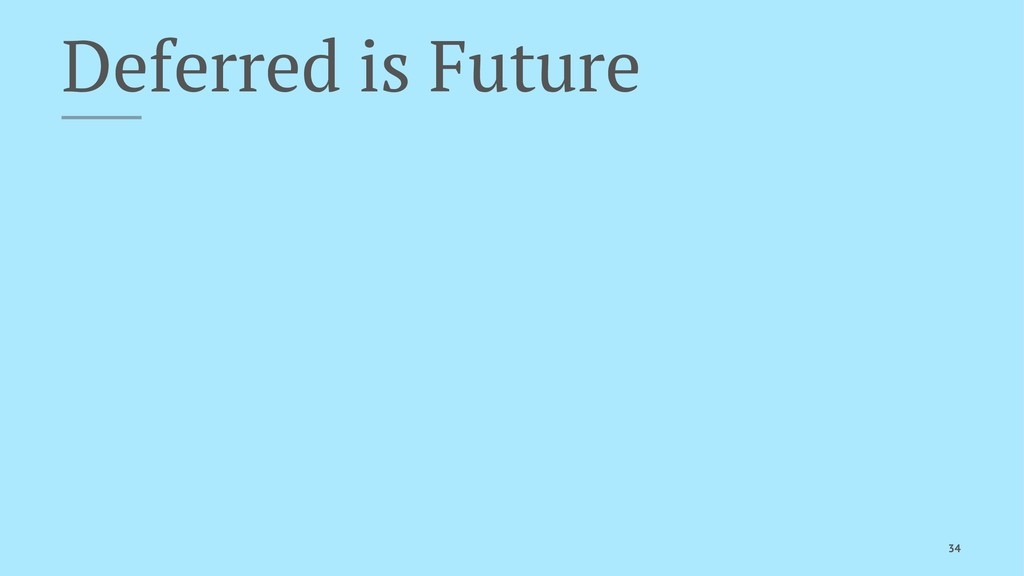 Deferred is Future 34