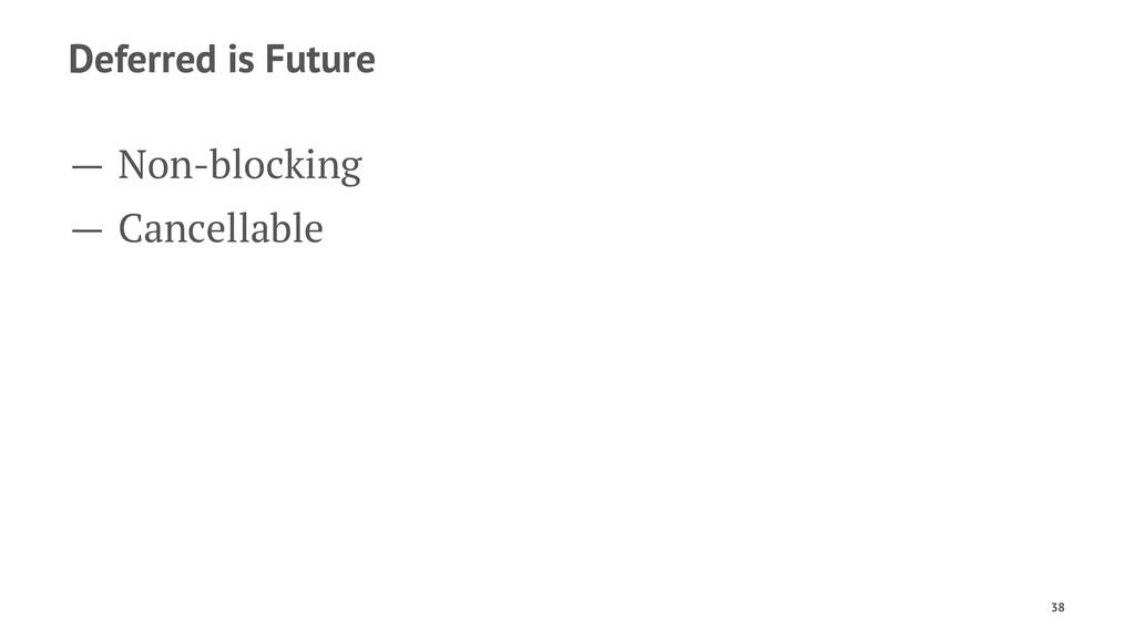 Deferred is Future — Non-blocking — Cancellable...