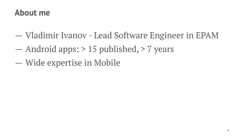 About me — Vladimir Ivanov - Lead Software Engi...