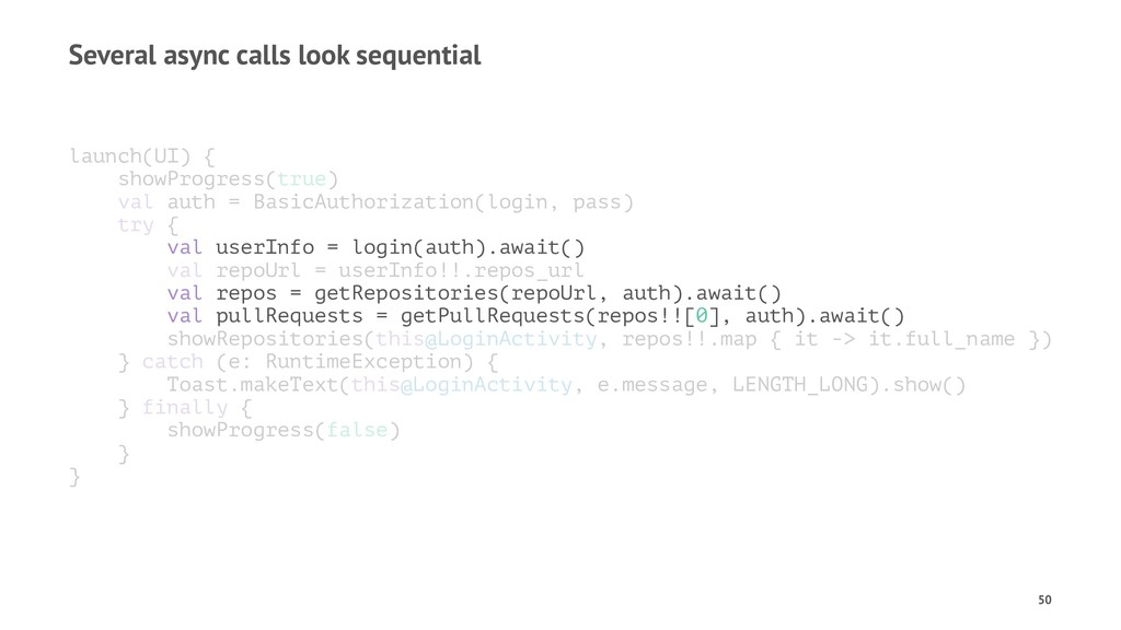 Several async calls look sequential launch(UI) ...