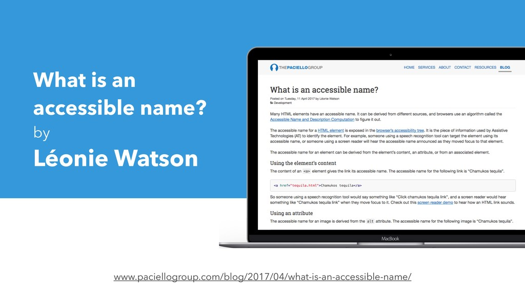 What is an accessible name? by Léonie Watson ww...
