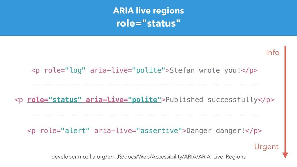 "ARIA live regions role=""status"" <p role=""status..."
