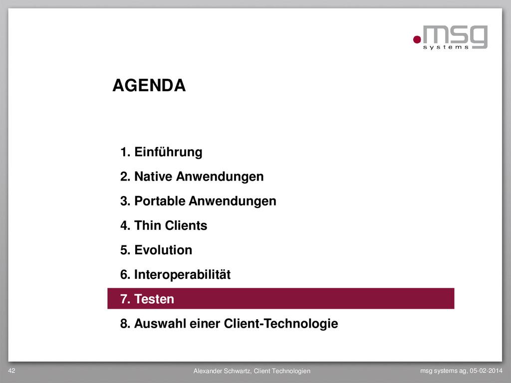 AGENDA 1. Einführung 2. Native Anwendungen 3. P...