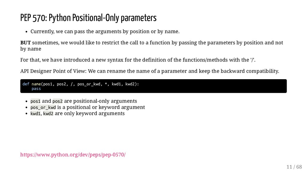 PEP 570: Python Positional-Only parameters Curr...
