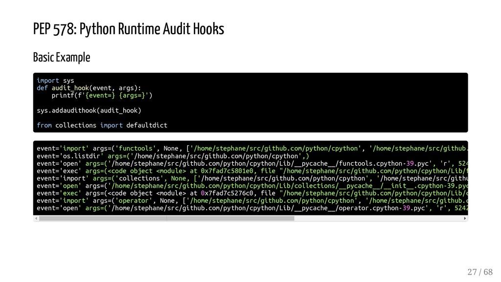 PEP 578: Python Runtime Audit Hooks Basic Examp...