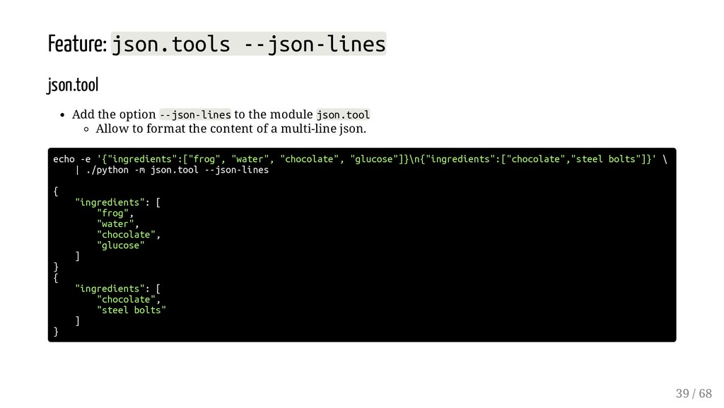 Feature: json.tools --json-lines json.tool Add ...