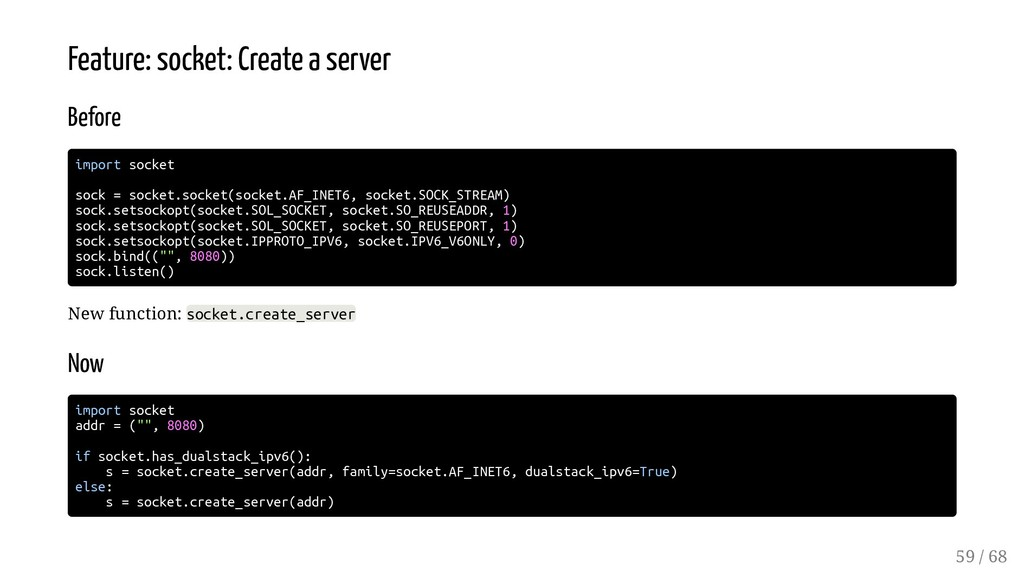 Feature: socket: Create a server Before import ...
