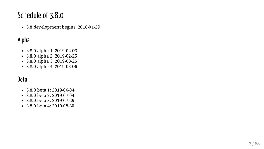 Schedule of 3.8.0 3.8 development begins: 2018-...