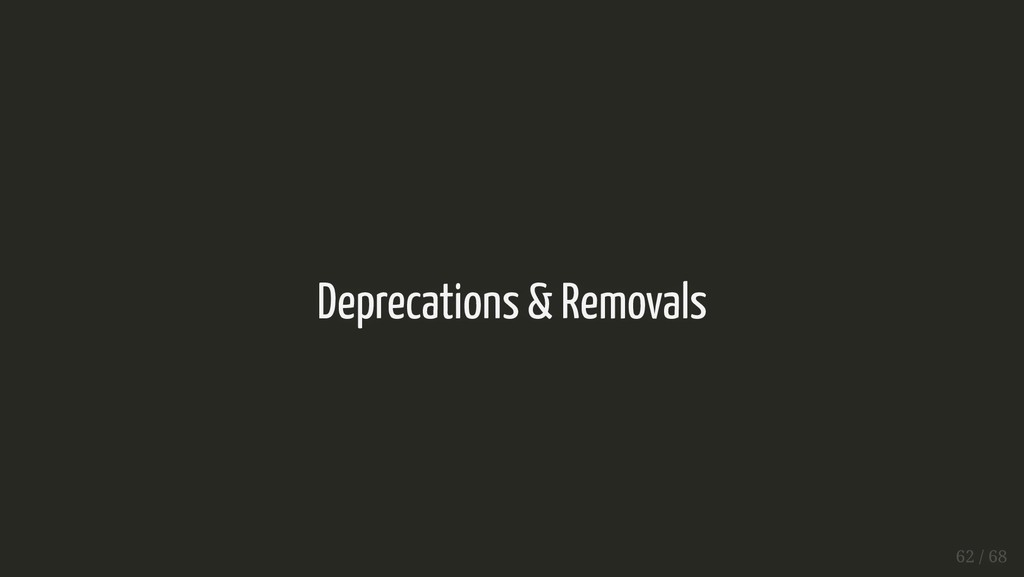 Deprecations & Removals Deprecations & Removals...