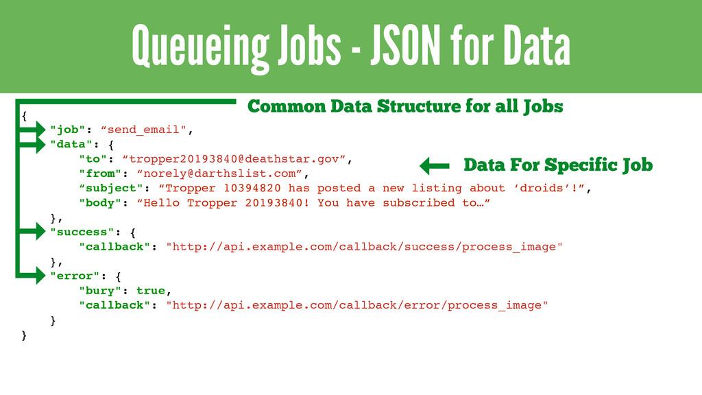 """Queueing Jobs - JSON for Data { """"job"""": """"send_em..."""