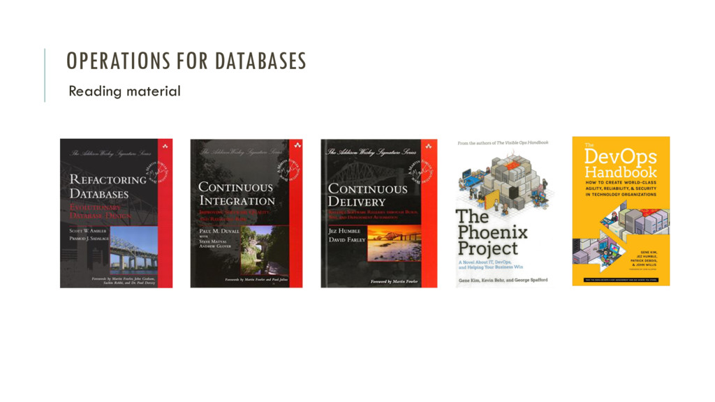 OPERATIONS FOR DATABASES Reading material
