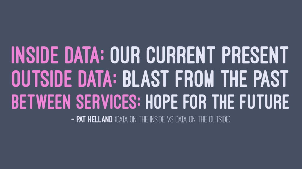 INSIDE DATA: OUR CURRENT PRESENT OUTSIDE DATA: ...