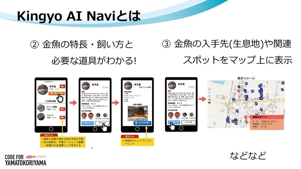 Kingyo AI Naviとは ② 金魚の特長・飼い方と 必要な道具がわかる! などなど ③...