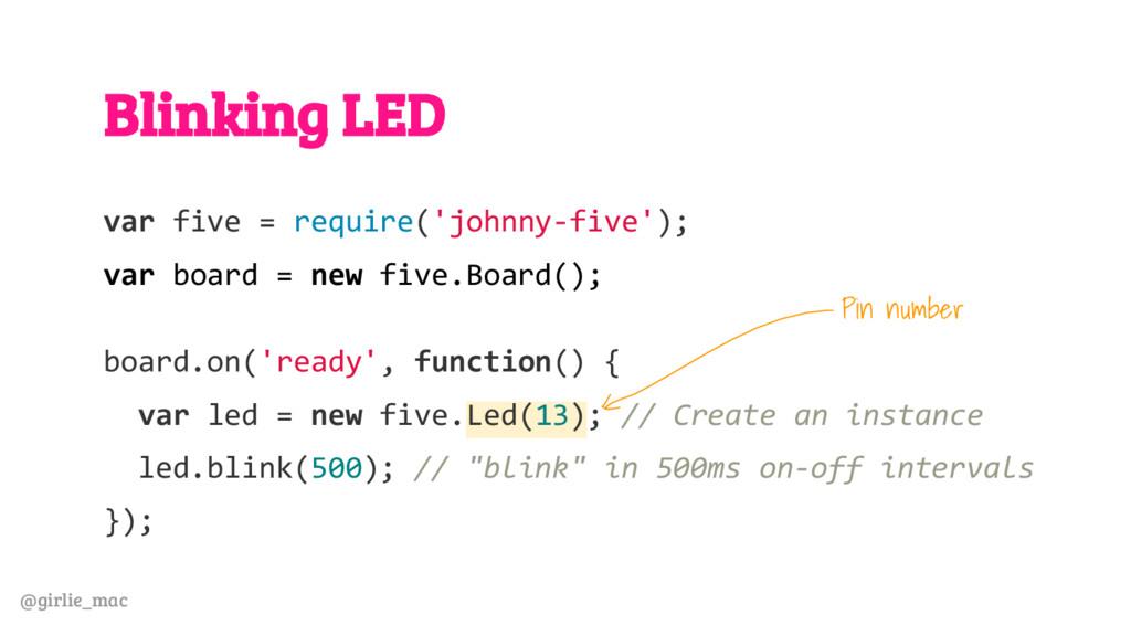 @girlie_mac Blinking LED var five = require('jo...