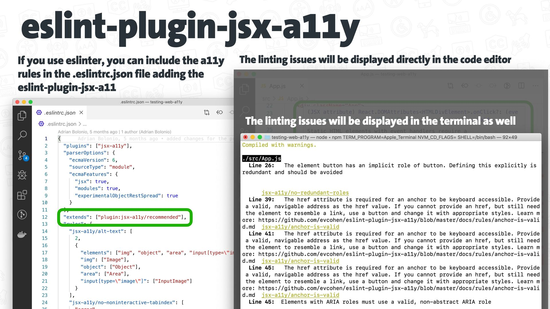 eslint-plugin-jsx-a11y The linting issues will ...