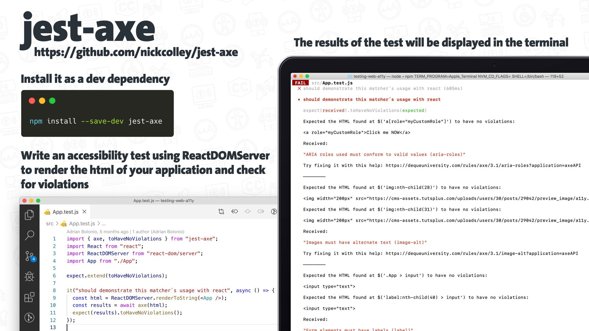 Automated a11y tests @axe-core/cli https://gith...