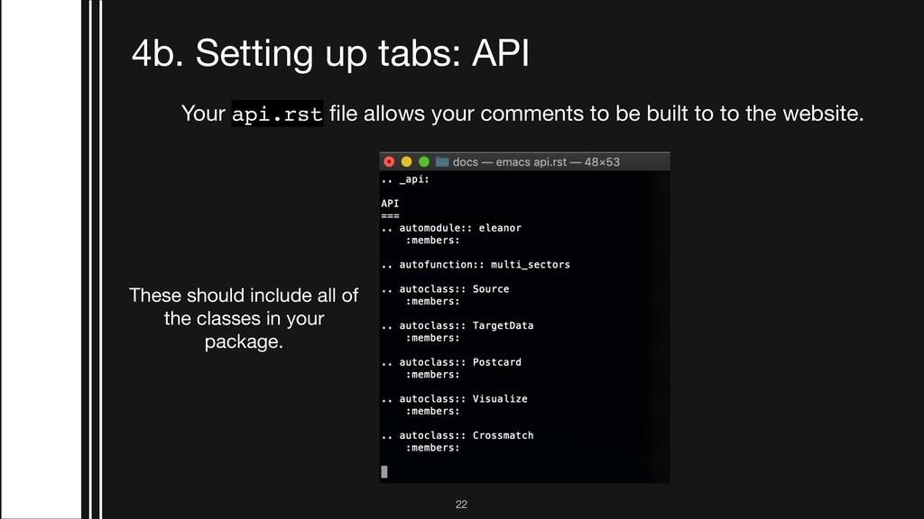 !22 4b. Setting up tabs: API Your api.rst file a...