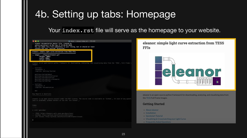 !23 4b. Setting up tabs: Homepage Your index.rs...