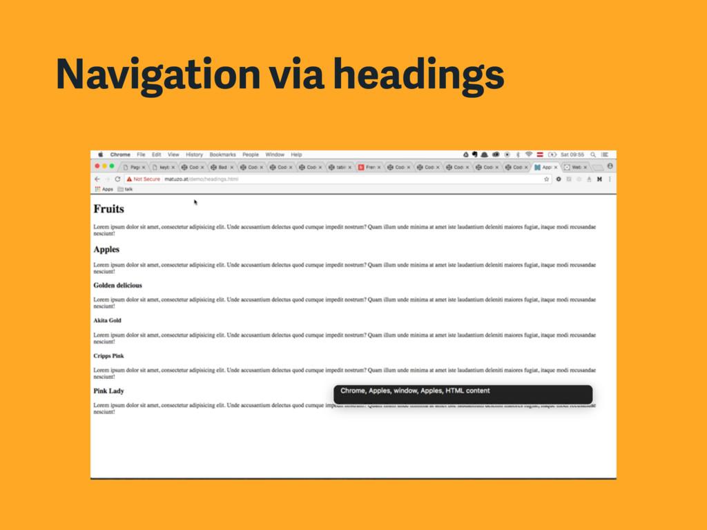 Navigation via headings