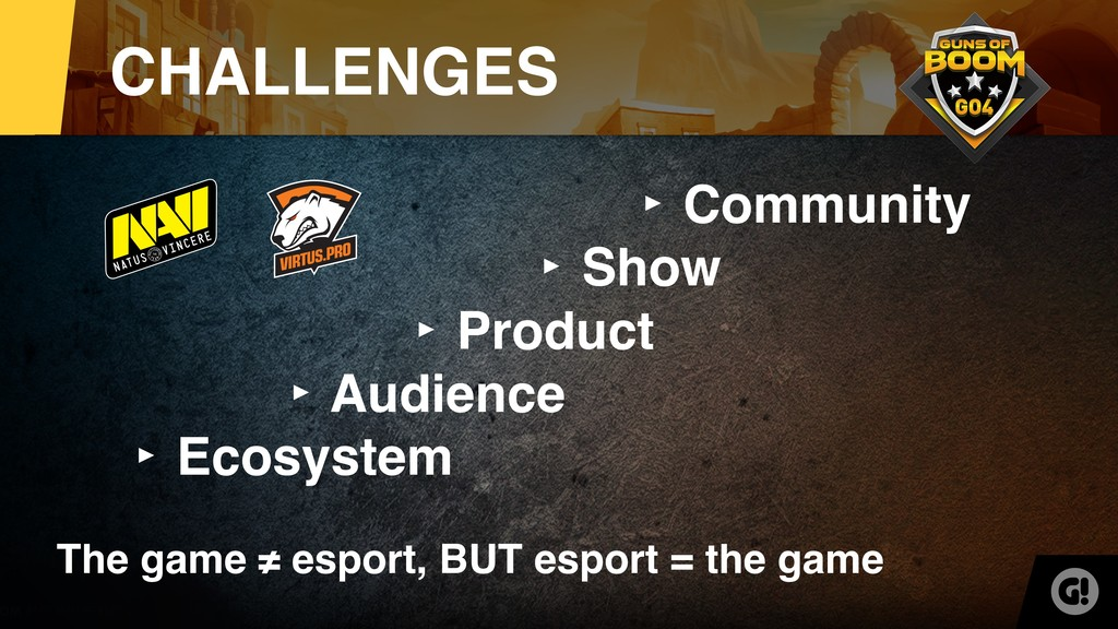CHALLENGES ‣ Ecosystem ‣ Audience ‣ Product ‣ S...