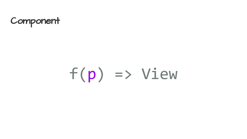 Component f(p) => View
